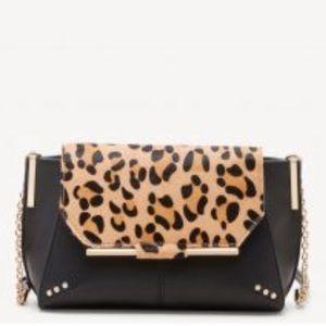 NWOT Leopard and Black Vegan Leather Purse
